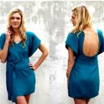 KELLY DRESS Style #1110 100% Silk Size: XS-L Color: *Dark Teal - Offshore Print